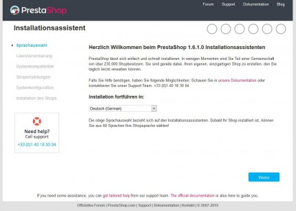 Installationsassistent PrestaShop 1.6.1