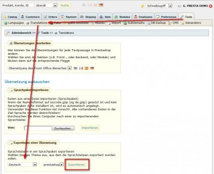 Übersetzungen in PrestaShop 1.3 exportieren