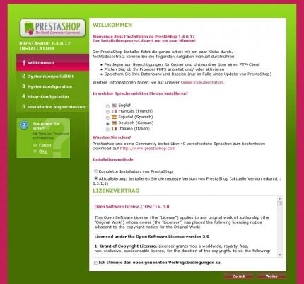PrestaShop Aktualisierung: der Update Installer (Version 1.4)