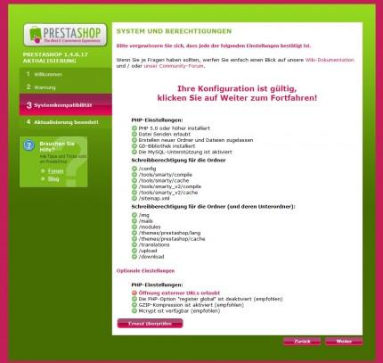 PHP Einstellungen, hier: Öffnung externer URLs erlaubt