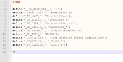 Inhalte der settings.inc.php im Ordner /config/
