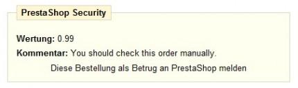 Diese Bestellung als Betrug an PrestaShop melden