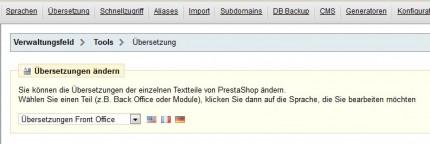 Tools zur Übersetzung im PrestaShop Back-Office