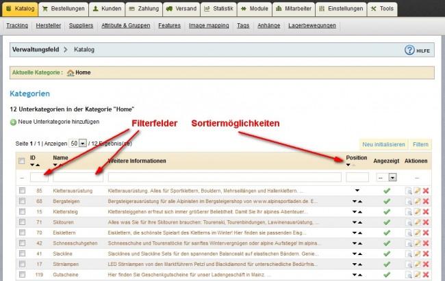 Sortieren und Filtern im PrestaShop Katalog