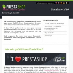 Der PrestaShop Newsletter in neuem Design