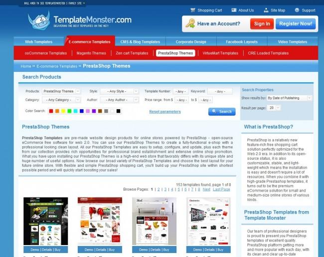 PrestaShop-Themes bei TemplateMonster
