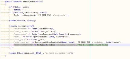 Bestellübersicht / Hook in das Zahlungsmodul integrieren
