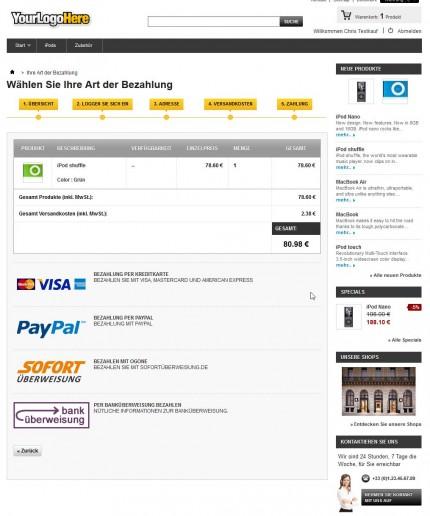 Nahtlose Integration der Ogone Zahlungsarten im 5-Schritte Bestellvorgang von PrestaShop