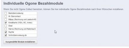 weitere Zahlungsmodule, die aus dem Ogone Hauptmodul direkt installiert werden können