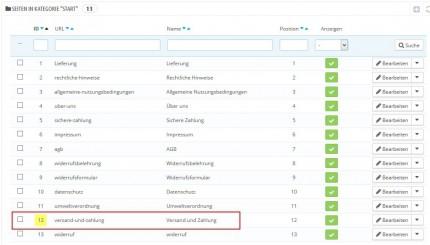 Linkfunktion CMS-Seiten-Link für Smarty-Templates