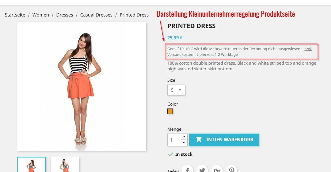 Anzeige der Kleinunternehmerregelung in PrestaShop 1.7 auf der Produktseite